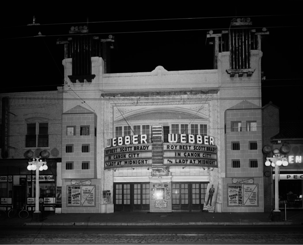 A view of the Webber Theater, at 119 S. Broadway, in the Baker neighborhood of Denver circa 1948. (Lloyd Rule/Denver Public Library/	Z-10221)
