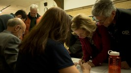 Democrats register befote a caucus at Smiley Middle School in North Park Hill, March 6, 2018. (Kevin J. Beaty/Denverite)  copolitics; denver; colorado; northeast park hill; denverite; colorado; kevinjbeaty; election;