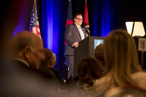 """Lakewood Mayor Adam Paul makes his """"State of the City"""" address, March 8, 2018. (Kevin J. Beaty/Denverite)lakewood; colorado; denverite; kevinjbeaty; denverite;"""