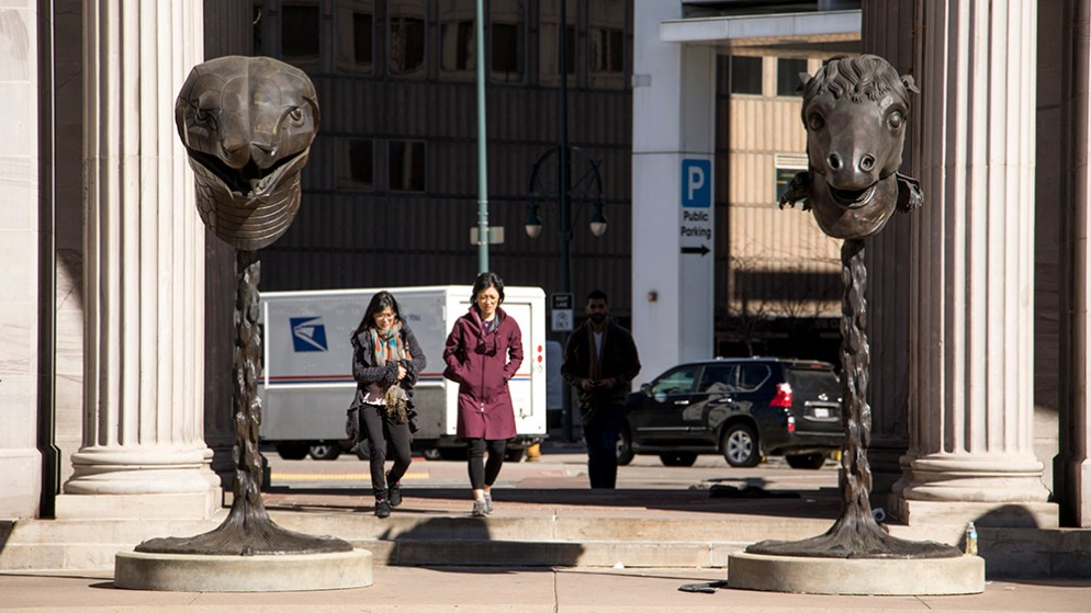 """Ai Weiwei's """"Circle of Animals/Zodiac Heads"""" at Civic Center Park, March 16, 2018. (Kevin J. Beaty/Denverite)"""