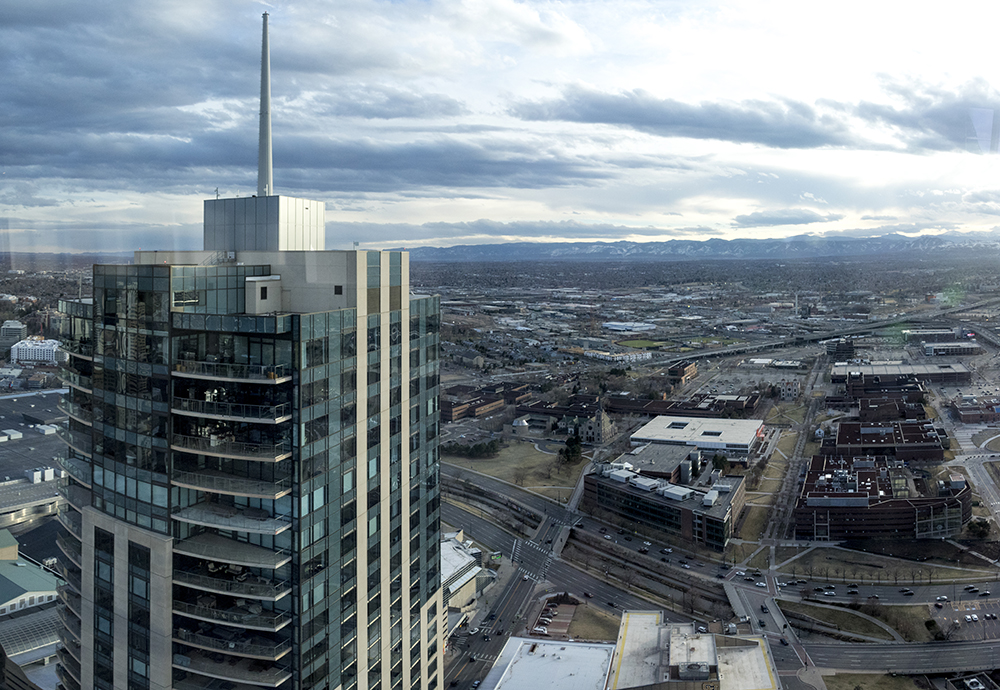 The view from Denver's newest skyscraper, 1144 Fifteenth, March 22, 2018. (Kevin J. Beaty/Denverite)  denver; colorado; denverite; development; kevinjbeaty; downtown; central business district; skyline; cityscape;