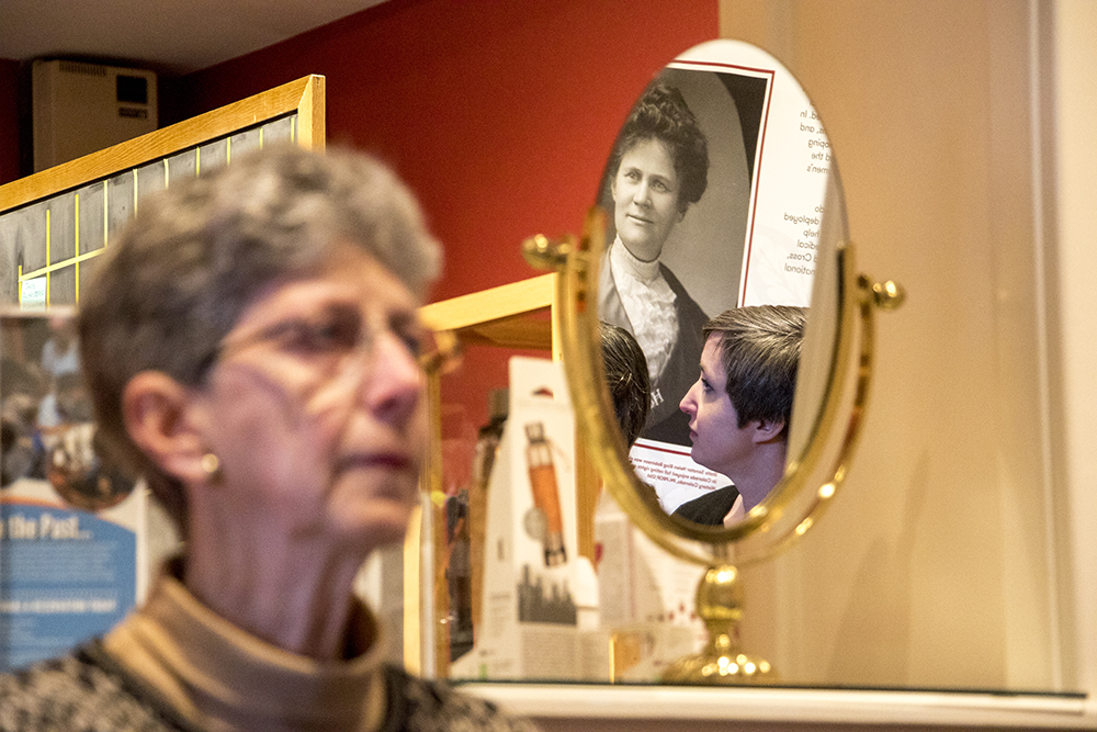 Longtime volunteer Rena Fowler and the Center for Colorado Women's History director Jillian Allison listen as the center opens at the Byers-Evans House, March 21, 2018. (Kevin J. Beaty/Denverite)  history; museum; denver; colorado; denverite; kevinjbeaty;
