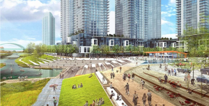 """A rendering of potential development envisioned as part of """"The River Mile"""" in the Elitch Gardens area. (Courtesy Revesco Properties)"""