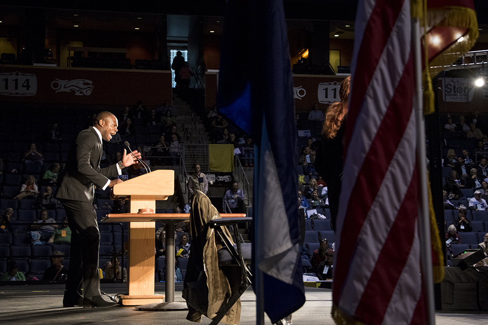Erik Underwood. The 2018 Democratic State Assembly at the 1stBank Center in Broomfield, April 14, 2018. (Kevin J. Beaty/Denverite)  copolitics; broomfield; colorado; politics; election; kevinjbeaty; denverite;
