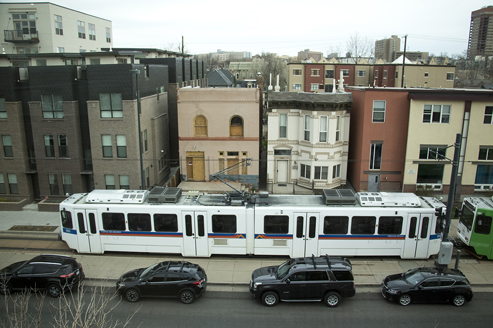 Welton Street seen from the Blair-Caldwell African American Research Library as developers meet with the Five Points community to announce new plans for the Rossonian Hotel. April 16, 2018. (Kevin J. Beaty/Denverite)