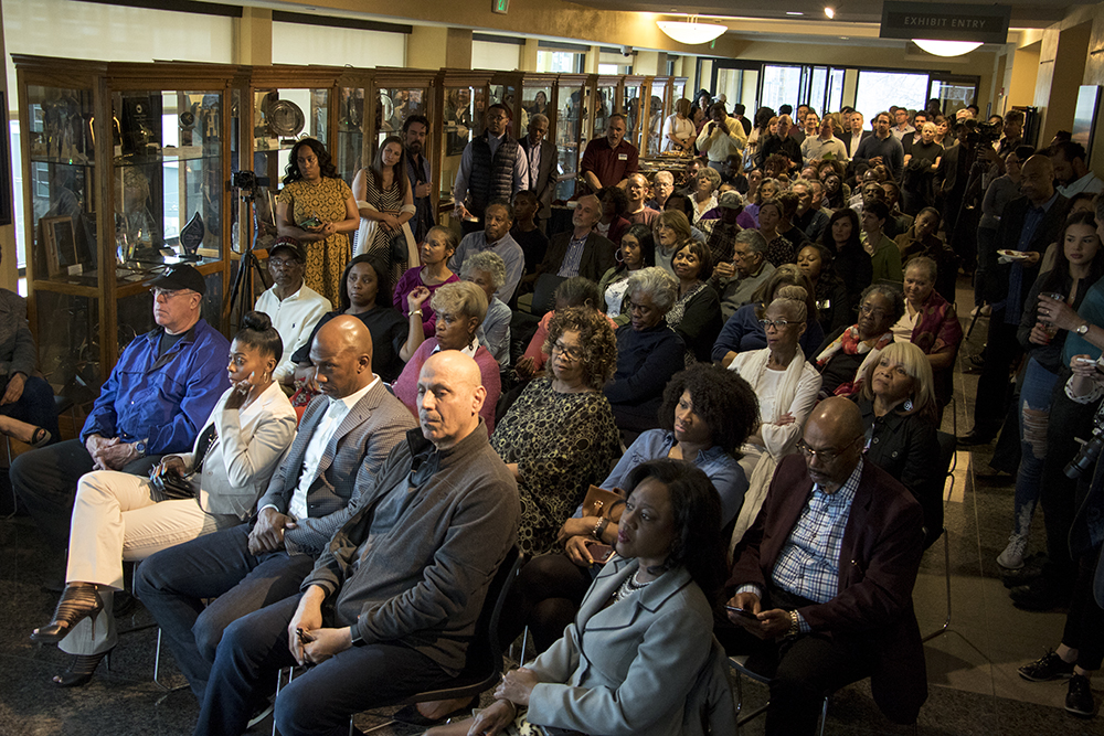 Members of the Five Points community pack the Blair-Caldwell African American Research Library as developers announce new plans for the Rossonian Hotel. April 16, 2018. (Kevin J. Beaty/Denverite)  denver; colorado; denverite; five points; development; welton street; kevinjbeaty;
