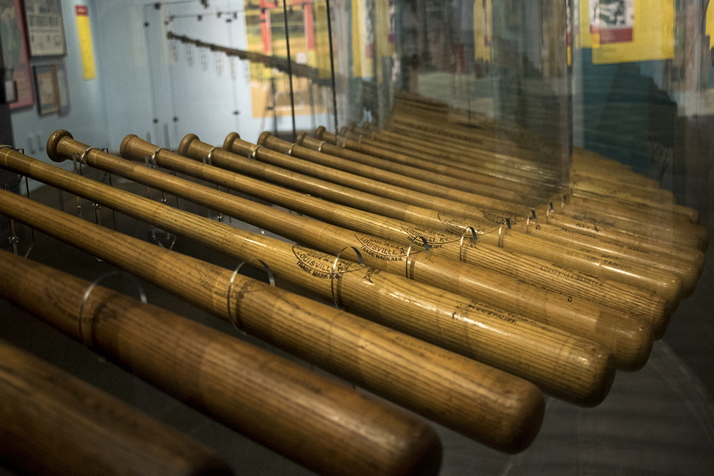 "Baseball bats on display in the ""Play Ball!"" exhibit at the History Colorado Center, April 24, 2018. (Kevin J. Beaty/Denverite)  history colorado; denver; colorado; denverite; kevinjbeaty;"