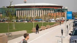 Denver's Auraria Campus and the Pepsi Center, now known as the Ball Arena. April 30, 2018. (Kevin J. Beaty/Denverite)
