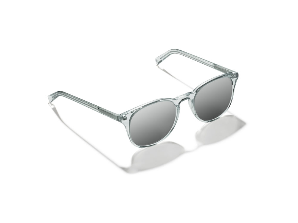 Warby Parker's Denver-exclusive sunglasses: Downing Large in Crystal Aqua with Flash Mirrored Silver lenses. (Courtesy of Derris)