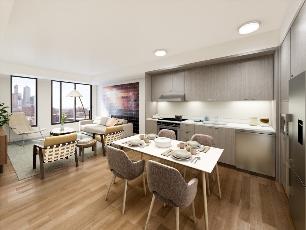 A rendering of an affordable unit in The Coloradan building under construction near Union Station. (Courtesy East West Partners)