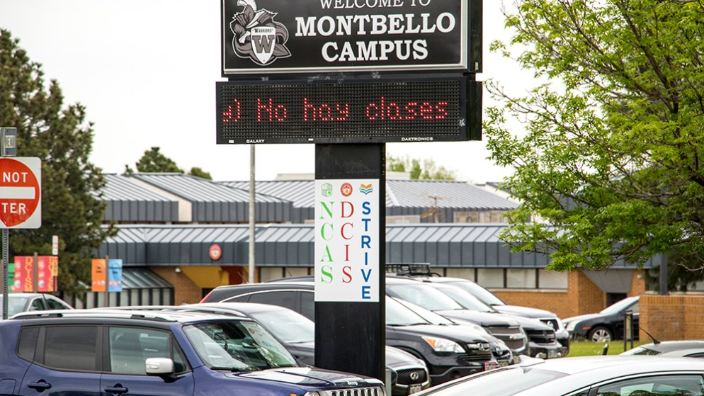 The Montbello Campus, home to three high schools in northeast Denver, May 7, 2018. (Kevin J. Beaty/Denverite)