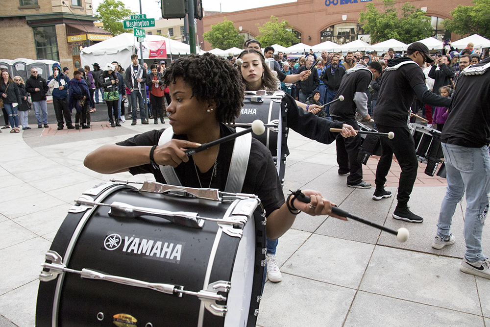 Vasji, a sophmore at Montbello High School, performs in a drum line at the Five Points Jazz Festival, May 19, 2018. (Kevin J. Beaty/Denverite)