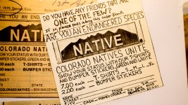 "Eric Glade's first order form, published in the Rocky Mountain News, for his ""NATIVE"" bumper sticker invention, May 24, 2018. (Kevin J. Beaty/Denverite)"