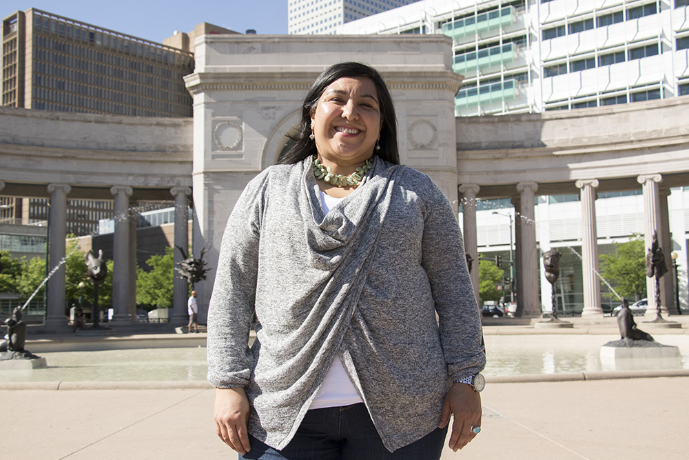Jamie Torres poses for a portrait in Civic Center Park, May 25, 2018. (Kevin J. Beaty/Denverite)