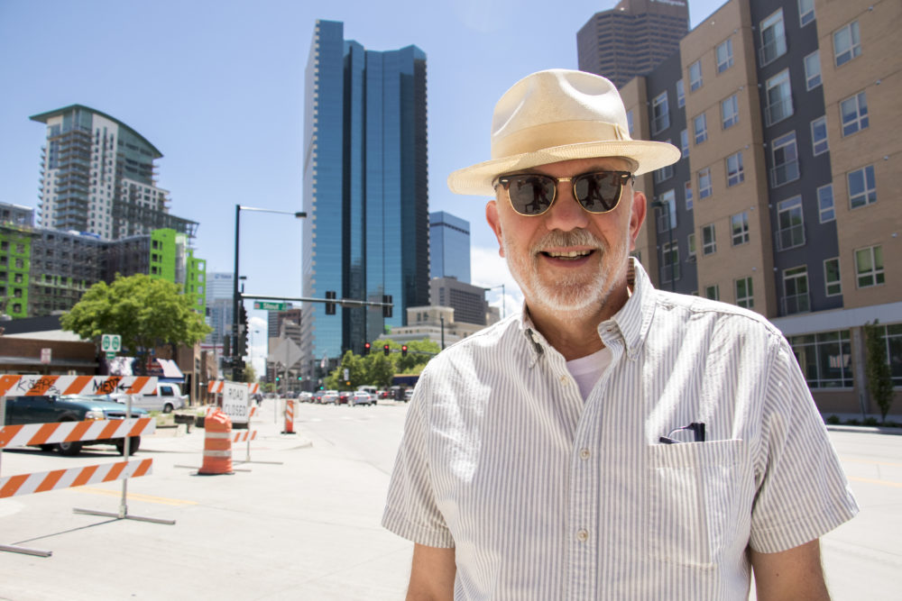 Denverite member Thomas Lucas, who asked how the city can improve walkability, May 25, 2018. (Kevin J. Beaty/Denverite)  denver; colorado; denverite; downtown; denverite member;