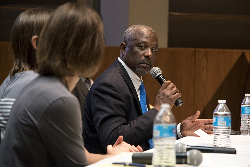 CD1 candidate Casper Stockham speaks on behalf of gubernatorial candidate Greg Lopez at a forum on homelessness and housing at the Shorter Community AME Church, May 31, 2018. (Kevin J. Beaty/Denverite)