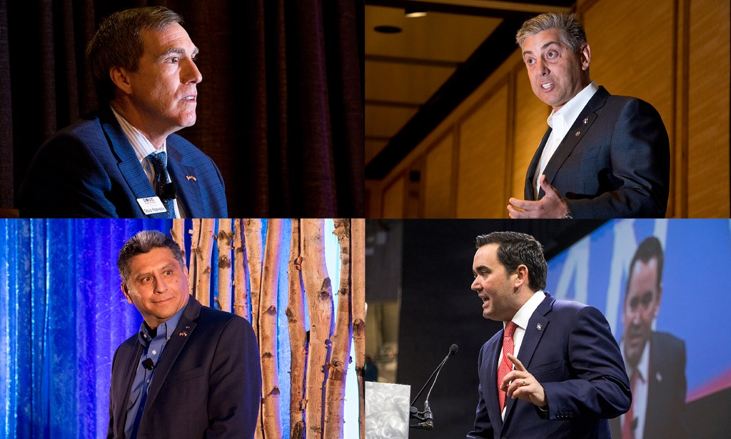 Republican gubernatorial candidates Doug Robinson (clockwise from top left), Victor Mitchell, Walker Stapleton and Greg Lopez. (Kevin J. Beaty/Denverite)