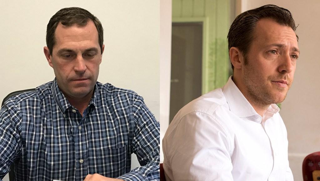 District 6 congressional candidates Jason Crow (left) and Levi Tillemann. (Kevin J. Beaty and Esteban L. Hernandez/Denverite)