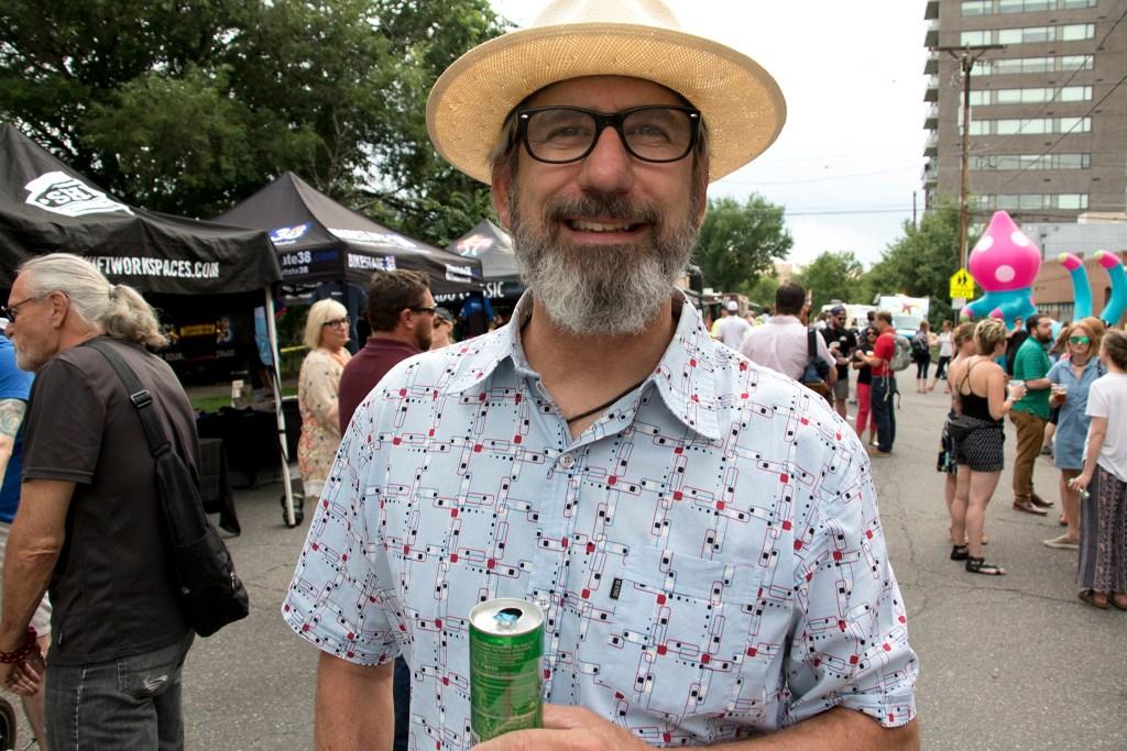 Denverite event guru Kendall Smith enjoys the Denverite Detour on Bike To Work Day, June 27, 2018. (Kevin J. Beaty/Denverite)