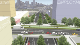 A rendering of a split-grade one way option (retaining the Federal bridge, with a split in traffic: NB Federal going adjacent to Mile High stadium creating the space for a green bike/ped way adjacent to SB traffic) (courtesy of the West Colfax BID)