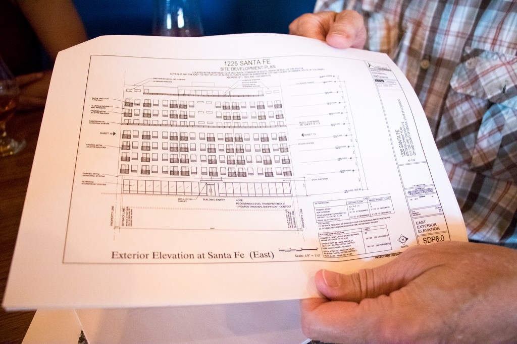 David Riggs holds a first draft of a development project at 1225 Santa Fe Drive that members of the La Alma-Lincoln Park Neighborhood Association had some issues with. The Intrepid Sojourner Beer Project on 8th Avenue, July 3, 2018. (Kevin J. Beaty/Denverite)