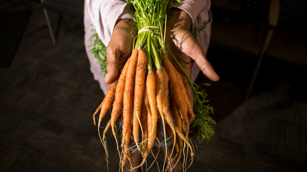 Diana Smith holds carrots she bought from the Denver Botanic Gardens' farm stand, set up at the Arie P. Taylor Municipal Center in Montbello, July 6, 2018. (Kevin J. Beaty/Denverite)