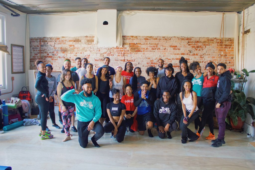 Trap Fitness members take a group picture after a workout. (Courtesy of Trap Fitness)