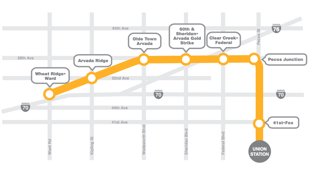 A map of the G Line included in RTD marketing material. (RTD)