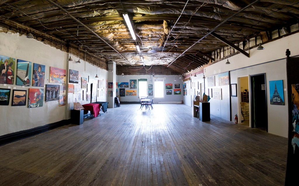 The Devil Dog Art Show upstairs at Veterans of Foreign Wars Post 1 on Santa Fe Drive, Aug. 8, 2018. (Kevin J. Beaty/Denverite)
