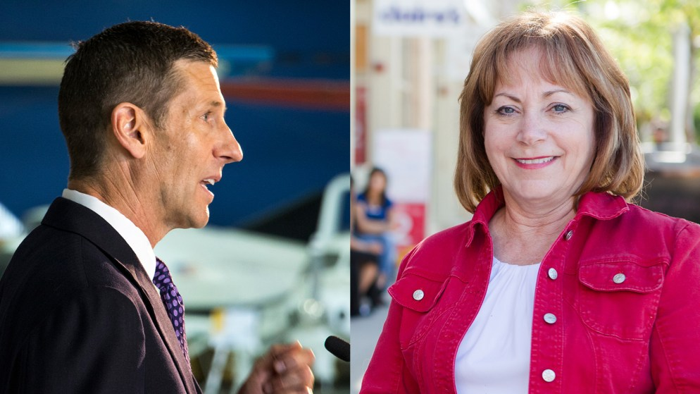 Colorado Lieutenant Governor candidates Lang Sias (left) and Dianne Primavera. (Kevin J. Beaty/Denverite and Courtesy Photo from the Polis campaign)