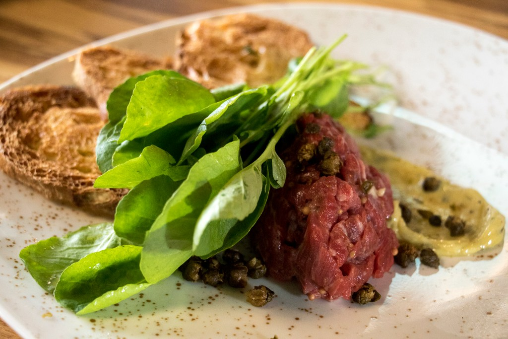 Steak tartare at Mila, the new restaurant at Denver Place downtown, Aug. 28, 2018. (Kevin J. Beaty/Denverite)