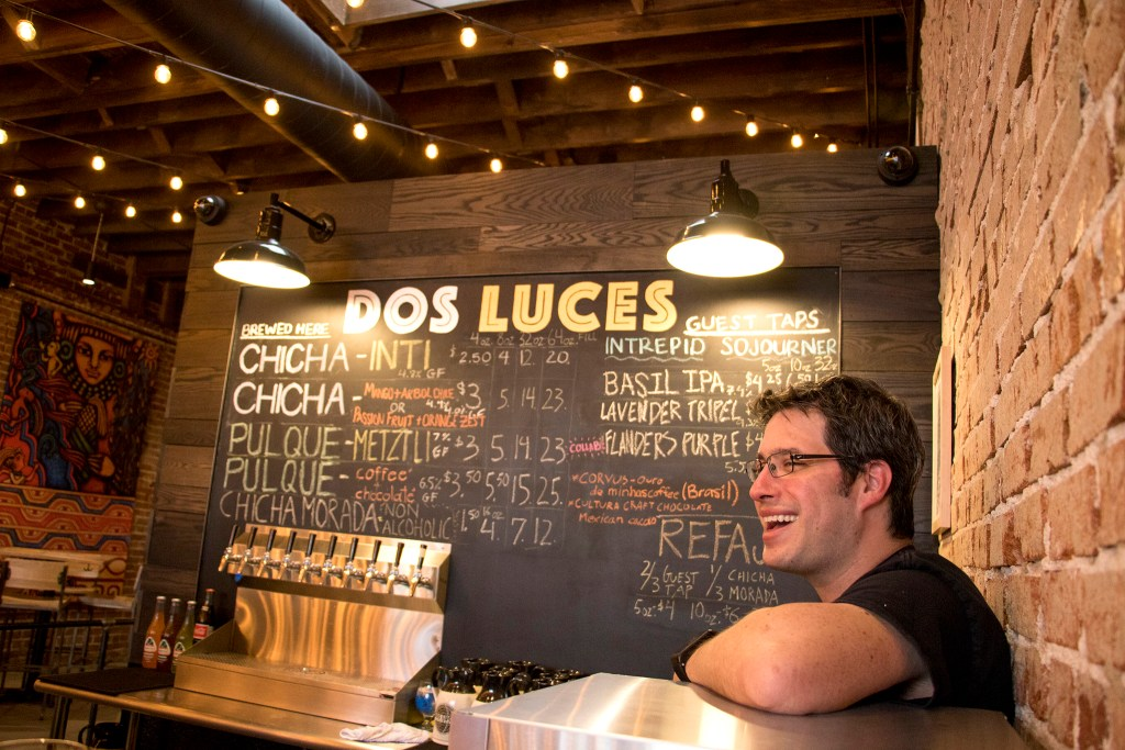 Judd Belstock, cofounder of Dos Luces Brewery, in his new South Broadway location, Aug. 30, 2018. (Kevin J. Beaty/Denverite)