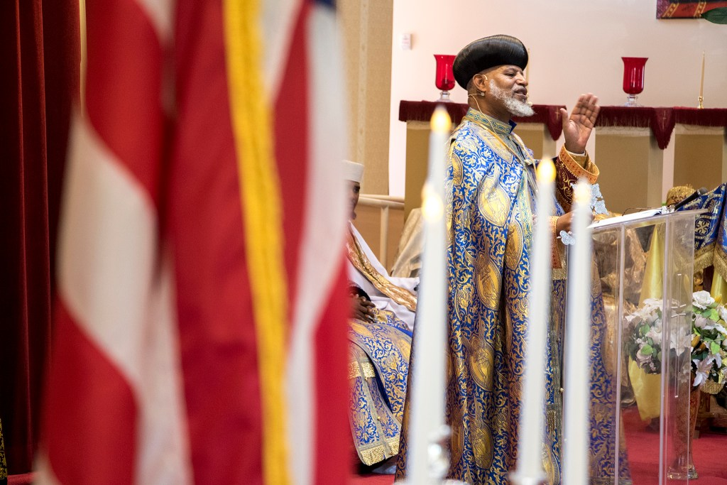 Abune Yacob, a highest priest visiting from Atlanta, preaches during Ethiopian New Year service at St. Mary Ethiopan Orthodox Church in Aurora, Sept. 9, 2018. (Kevin J. Beaty/Denverite)