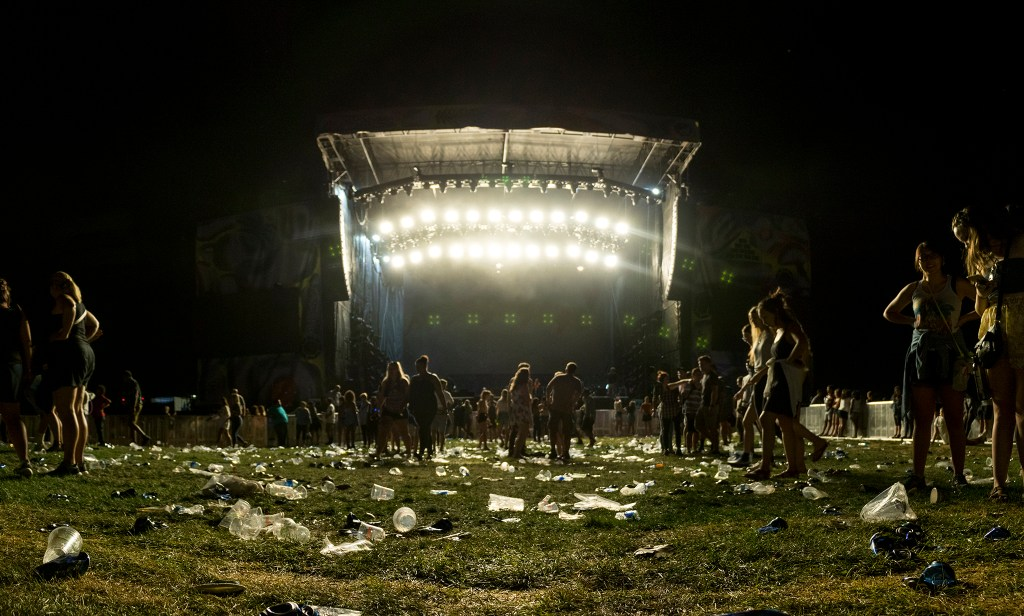 There was some garbage left over after Kendrick Lamar played Grandoozy at Overland Golf Course, Sept. 14, 2018. (Kevin J. Beaty/Denverite)