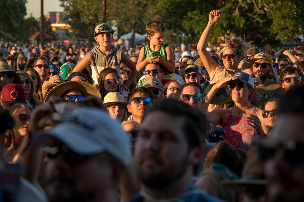 The audience watches as Sturgill Simpson plays Grandoozy at Overland Golf Course, Sept. 15, 2018. (Kevin J. Beaty/Denverite)