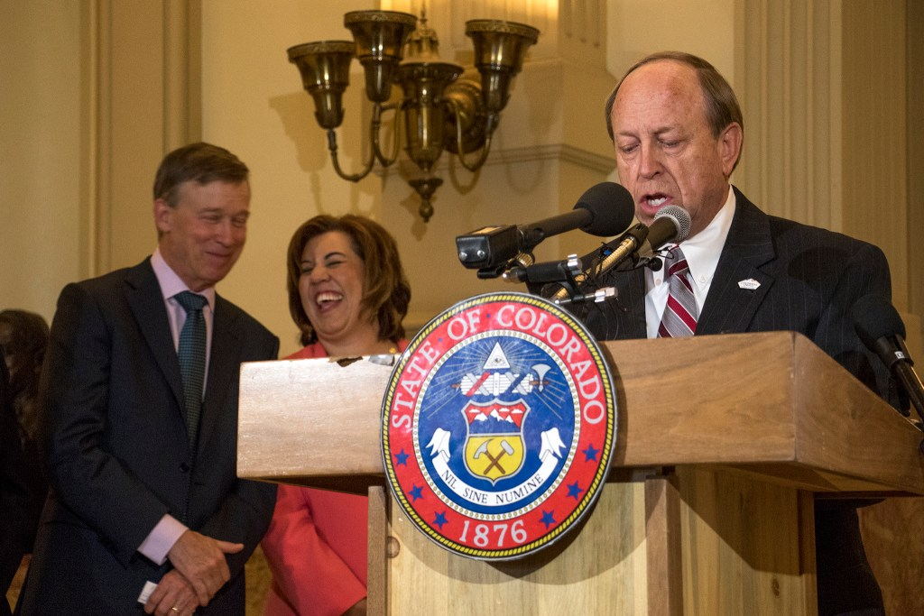 Colorado Springs Mayor and Lifelong Colorado co-chair John Suthers speaks in a press conference at the Captiol, Sept. 18, 2018. (Kevin J. Beaty/Denverite)