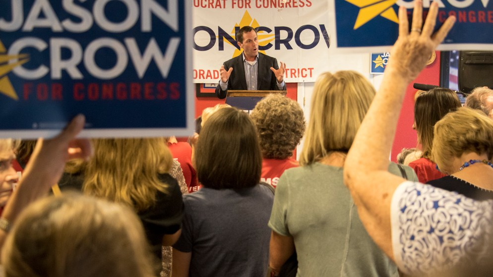 Congressional candidate Jason Crow speaks at a campaign rally at a VFW post in Aurora, Sept. 20, 2018. (Kevin J. Beaty/Denverite)