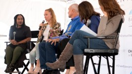 Denverite assistant editor Ashley Dean speaks on a Denver Startup Week panel near The Commons on Champa, Sept. 26, 2018. (Kevin J. Beaty/Denverite)