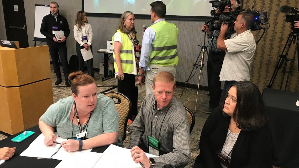 State and County election officials participate in an election preparedness exercise on Thursday, Sept. 5, at the Hilton Denver Inverness in Englewood. (Esteban L. Hernandez/Denverite)
