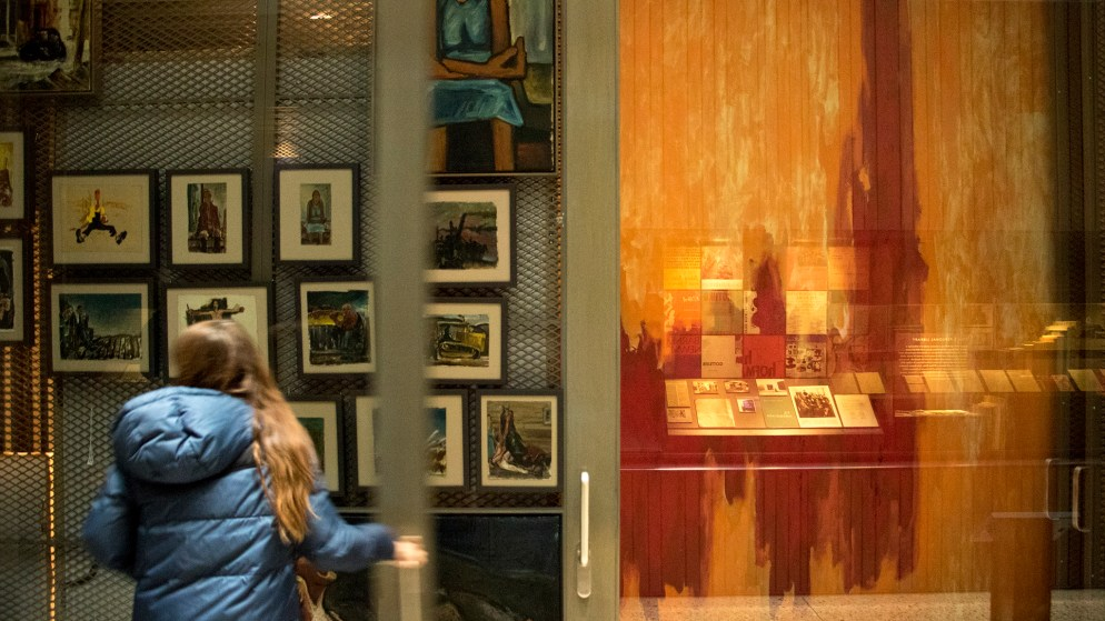 Jessie De La Cruz, archivist and digital collections manager at the Clyfford Still Museum, opens up a collections room, Oct. 23, 2018. (Kevin J. Beaty/Denverite)