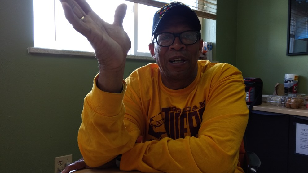 Lamont M. Shannon, a Vietnam veteran in Colorado Coalition for the Homeless transitional housing, gestures during an interview. (Donna Bryson/Denverite)
