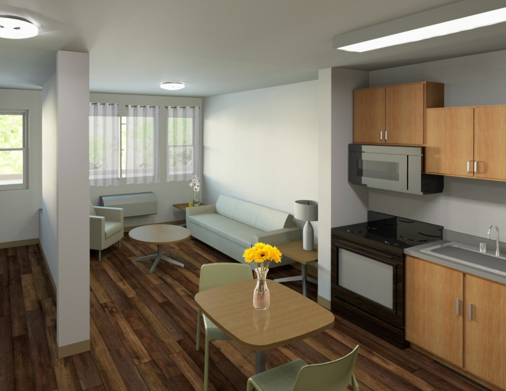 An architect's rendering of the kitchen and sitting room in an apartment for people who have experienced homelessness in a complex The Delores Project has helped develop. (Shopworks Architecture)
