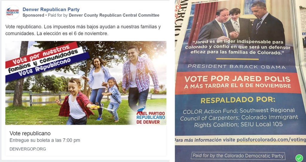 Spanish language ads from the Denver Republican (left) and Colorado Democratic parties.