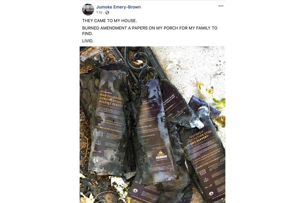 A photo of charred pro-Amendment A canvassing materials on Jumoke Emery-Brown's porch. He posted this to his Facebook page, Nov. 5, 2018. (Courtesy: Jumoke Emery-Brown)