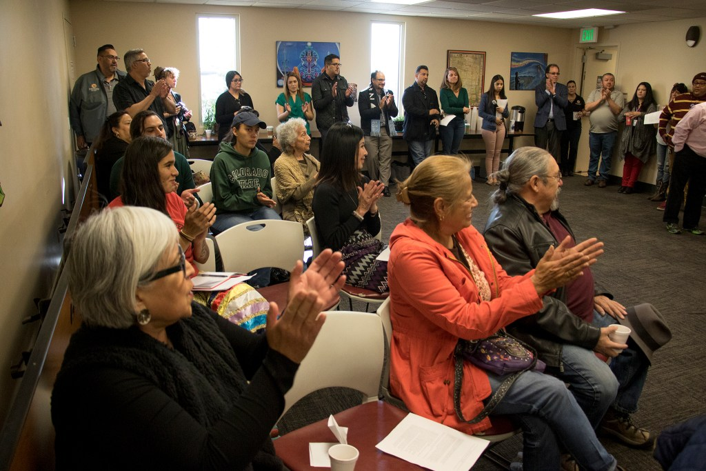 Latino community leaders meet to discuss the community's representation in state government following the midterm election, Nov. 15, 2018. (Kevin J. Beaty/Denverite)
