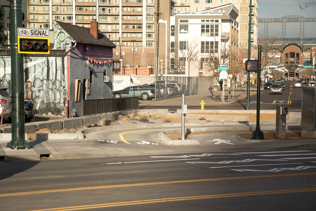 A new bike and pedestrian crossing at Broadway, 21st and Champa Streets, Nov. 27, 2018. (Kevin J. Beaty/Denverite)