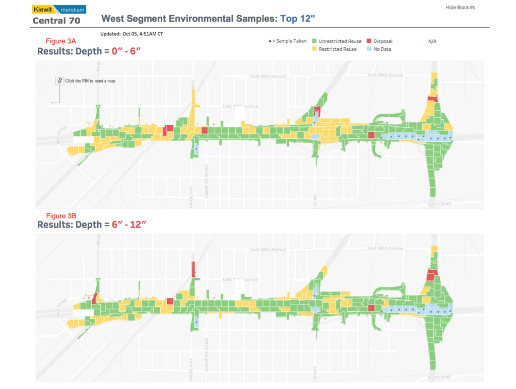 A map of cells sampled for contamination by Kiewit Meridiam Partners ahead of digging on the I-70 widening project. (Kiewit Meridiam Partners)