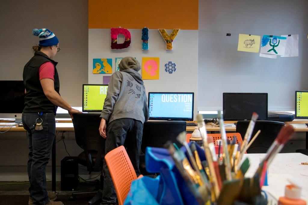 Yhe Idea Lab inside the Denver Public Library's main branch downtown, Dec. 12, 2018. (Kevin J. Beaty/Denverite)