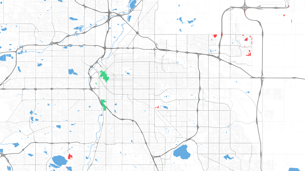 The green splotches are the best areas for transit. The red splotches are the worst. (Courtesy University of Minnesota Accessibility Observatory)