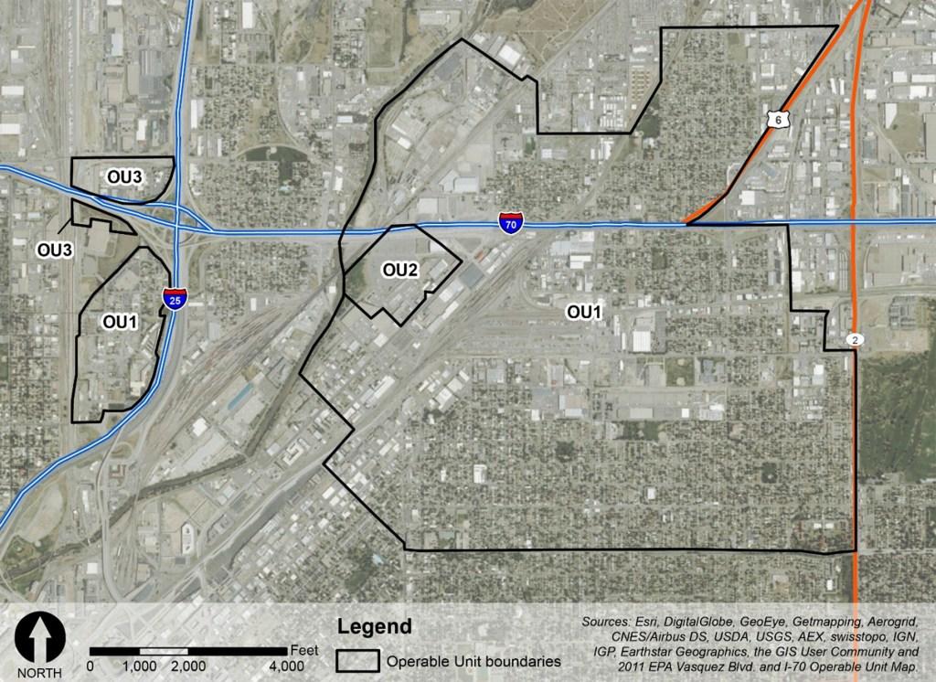 A map of the Vasquez Boulevard/I-70 Superfund site. (EPA)